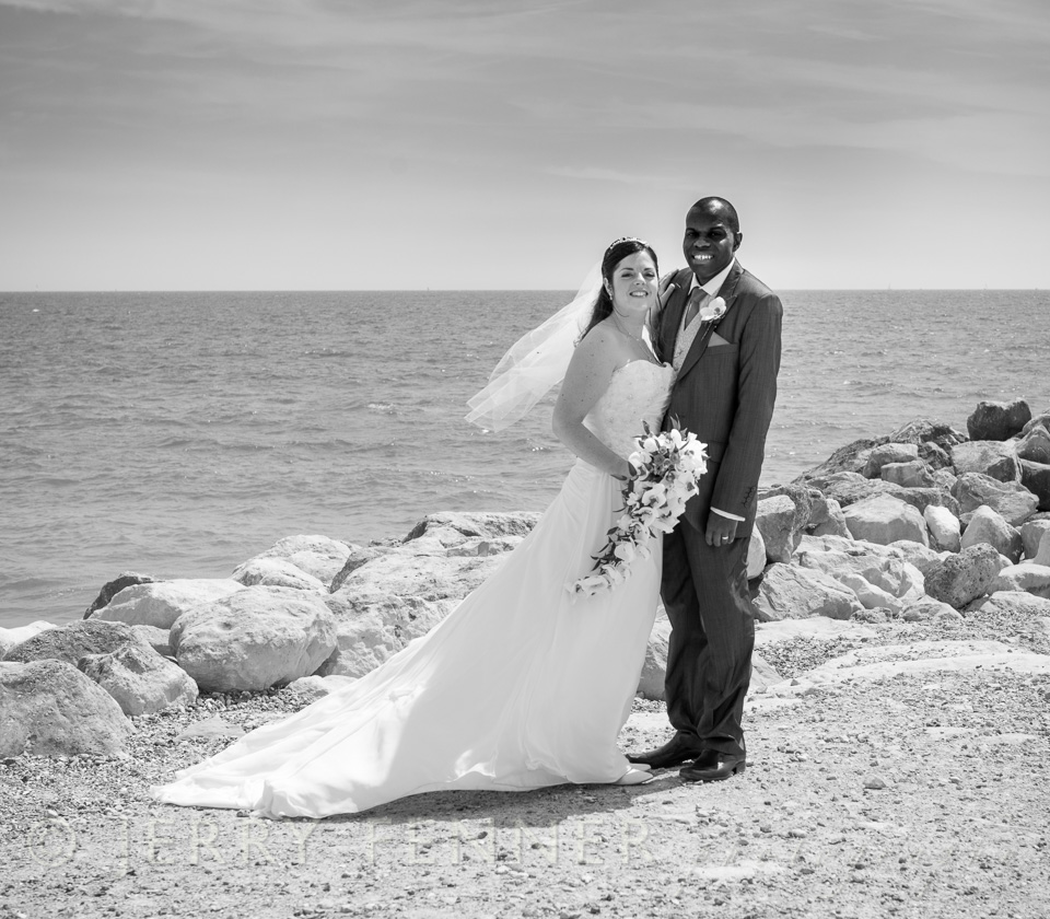 Beach wedding photography at Highcliffe Castle