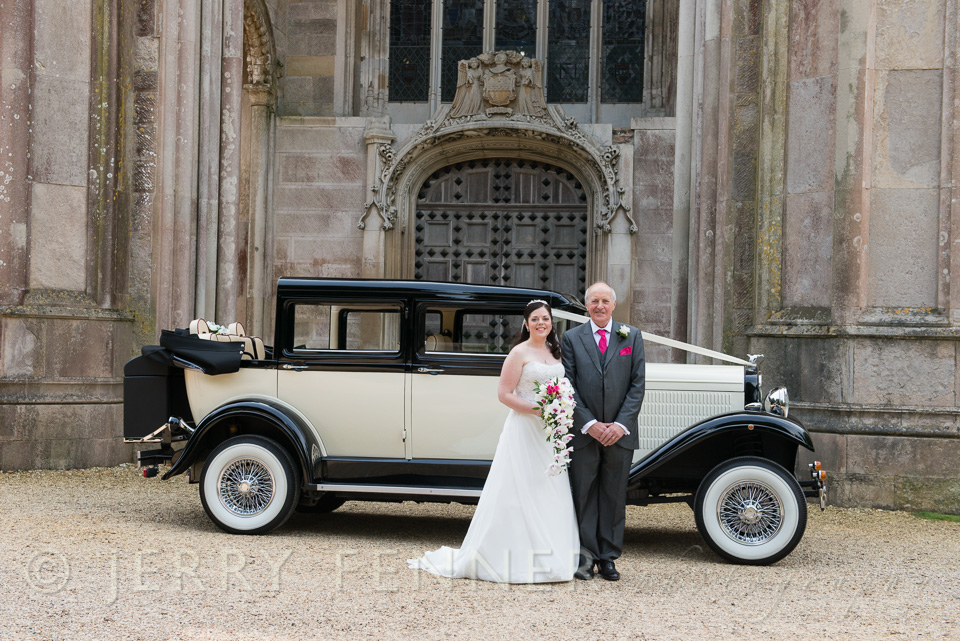 Bride and her father at Highcliffe castle