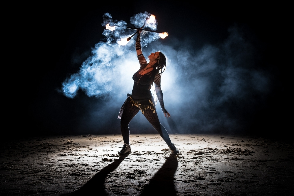 Bournemouth Beach crossed staves fire performer