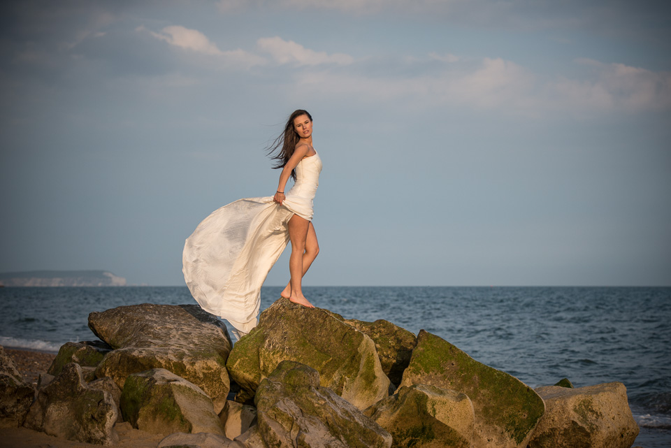 Kasia looking fabulous in her wedding dress at the beach