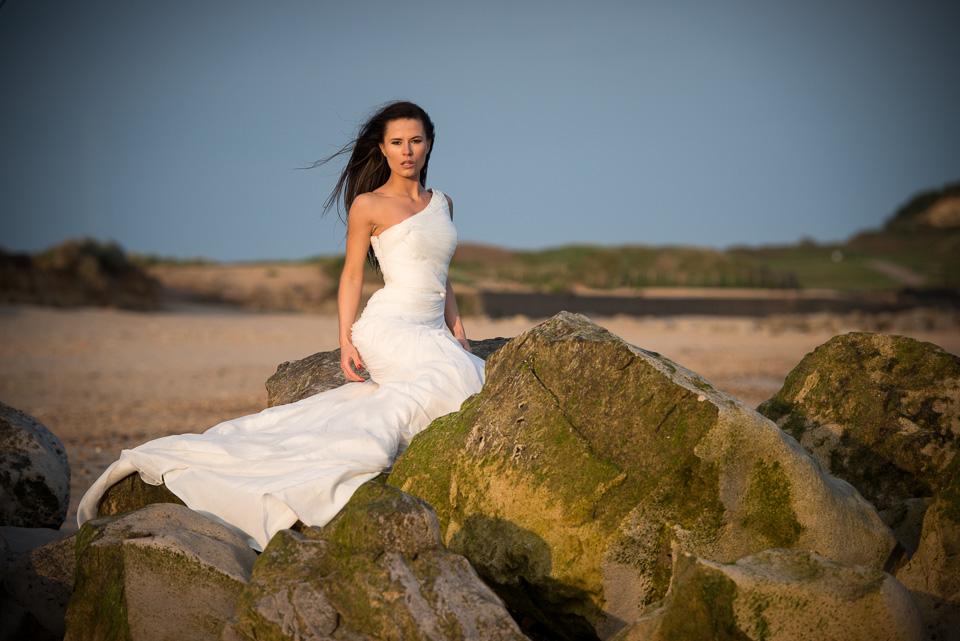 Lookking fantastic wedding dress beach and evening light
