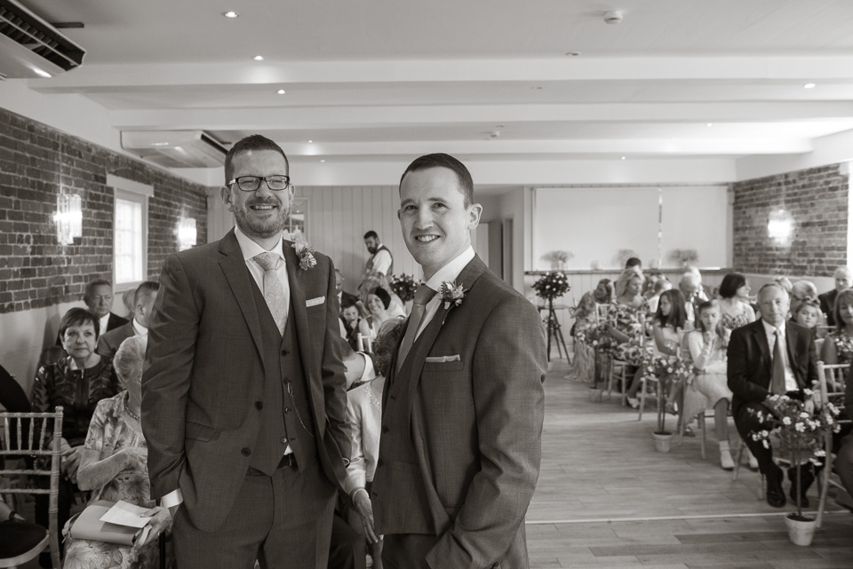 Groom and best man at Sopley Mill Dorset