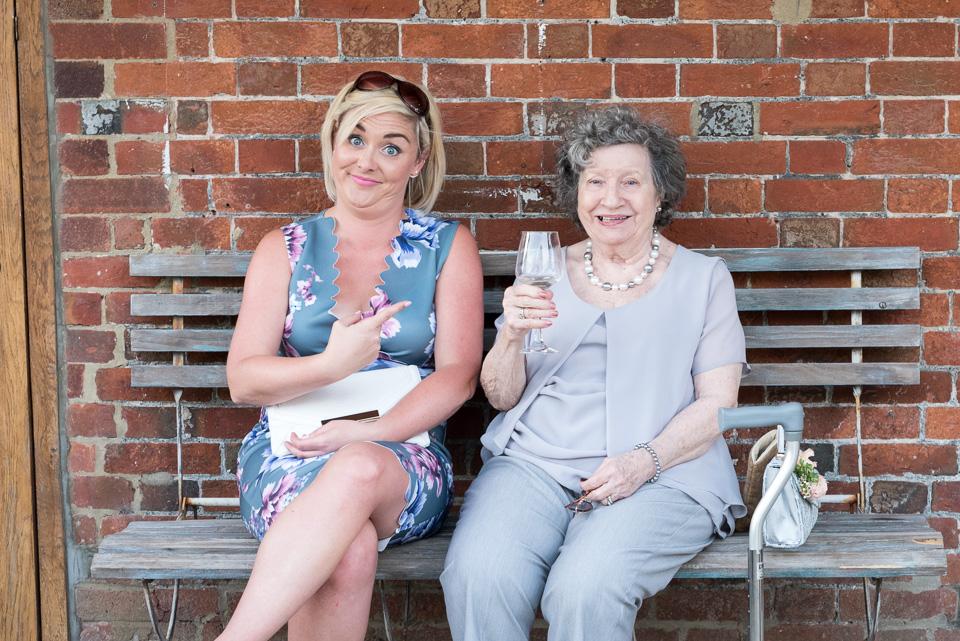 Look at gran drinking at Sopley Mill weddin