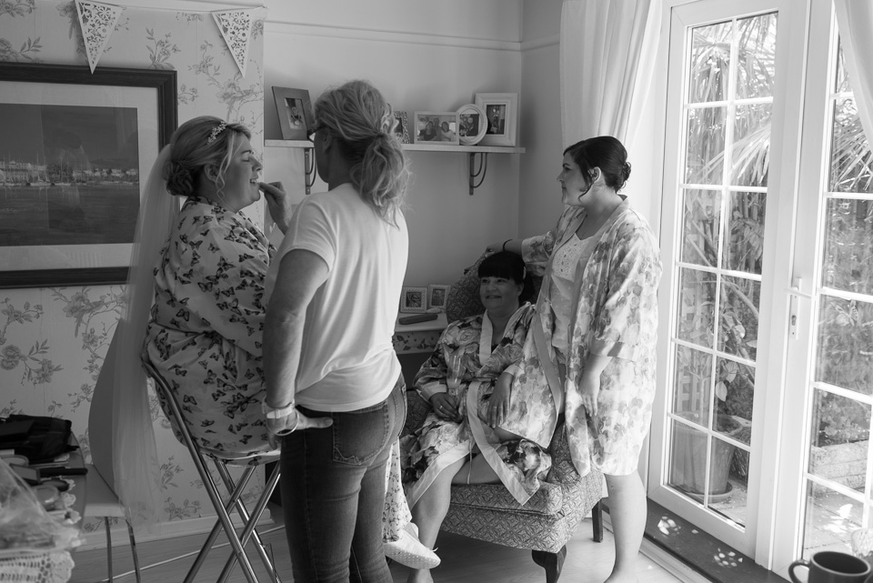Make up with her matron of honour and bridesmaid