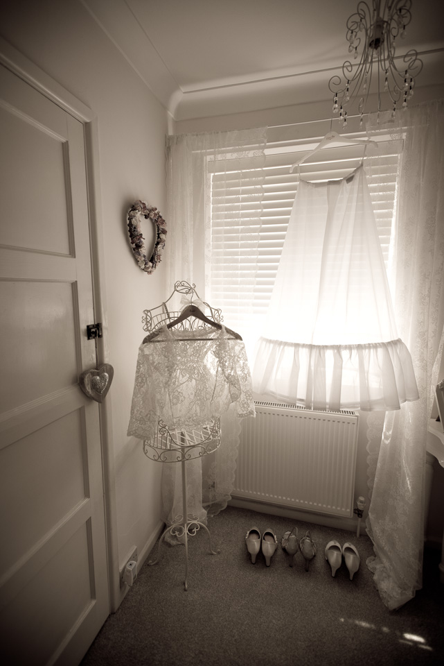 Petticoat and wrap hanging up