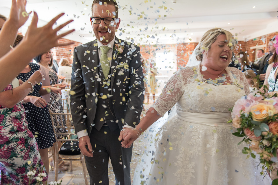Showered in confetti at Sopley Mill
