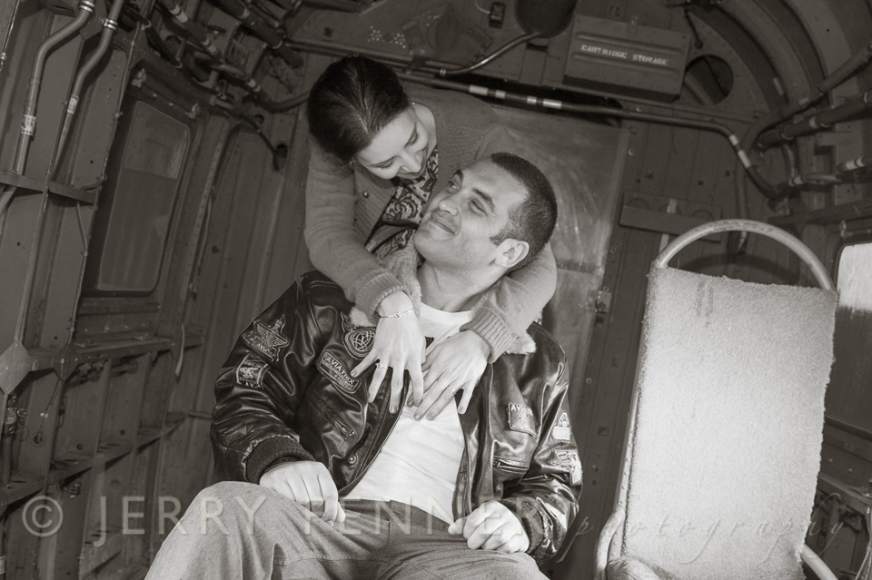 Pre-wedding photo shoot at Bournemouth Aviation Museum