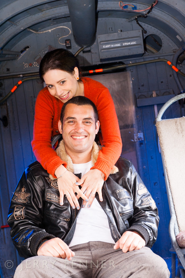Pre-wedding photographer at Bournemouth Aviation Museum location photo shoot