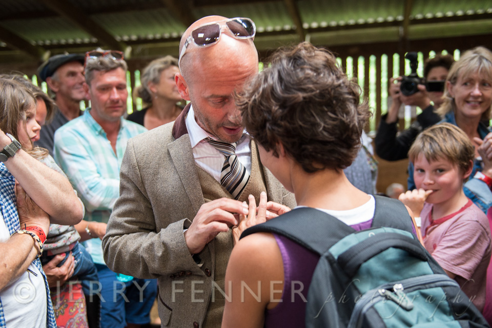 Peter's proposal to Cath at Purbeck Folk Festival