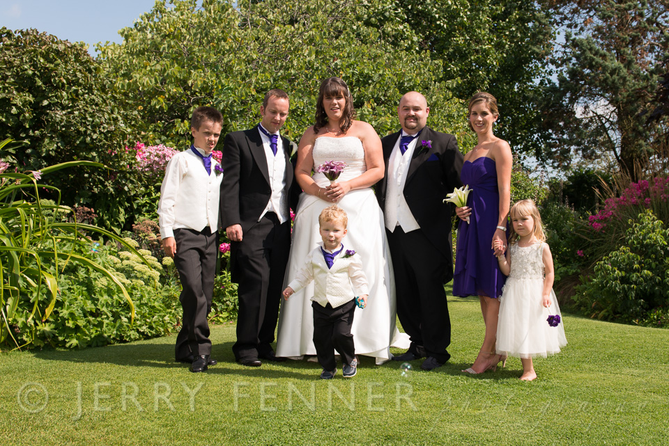 Beautiful family group at a wedding
