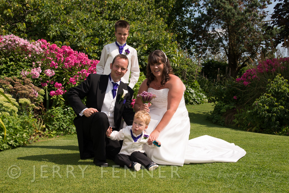 Parley bride and groom with their children