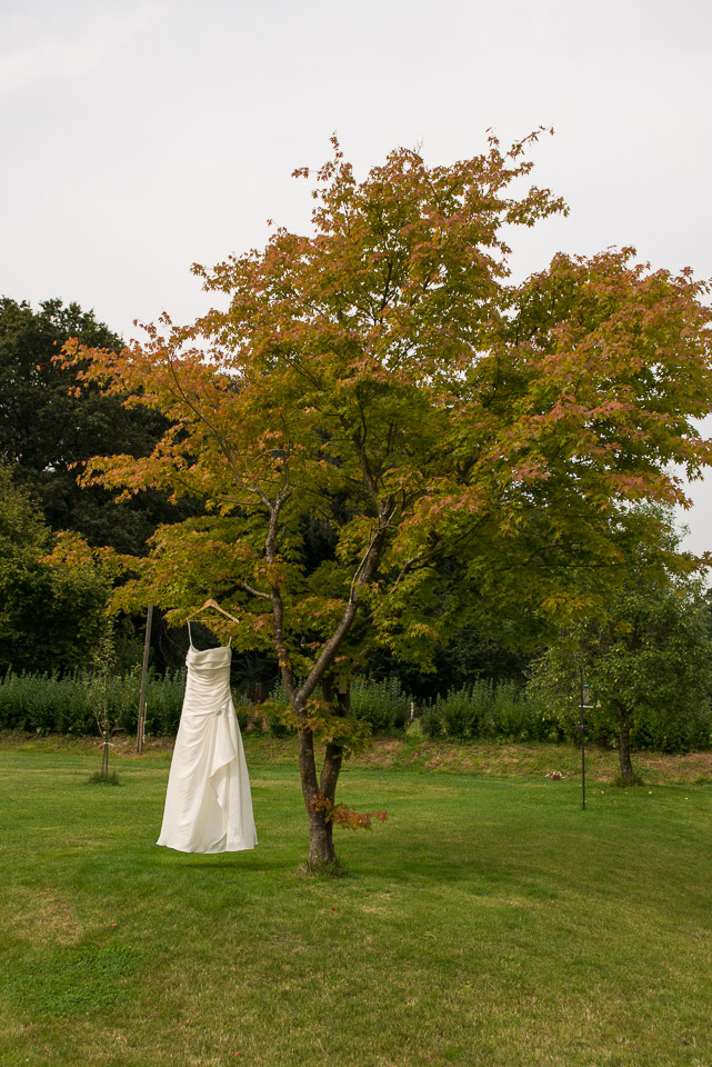 Wedding dress in the garden New Forest wedding
