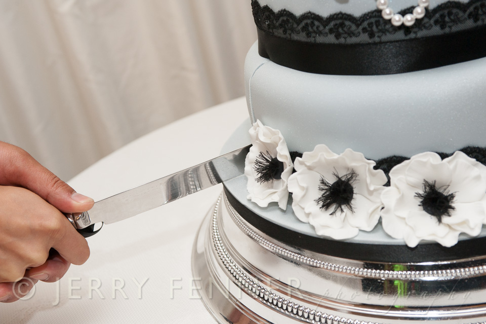 Cutting the wedding cake at their wedding reception
