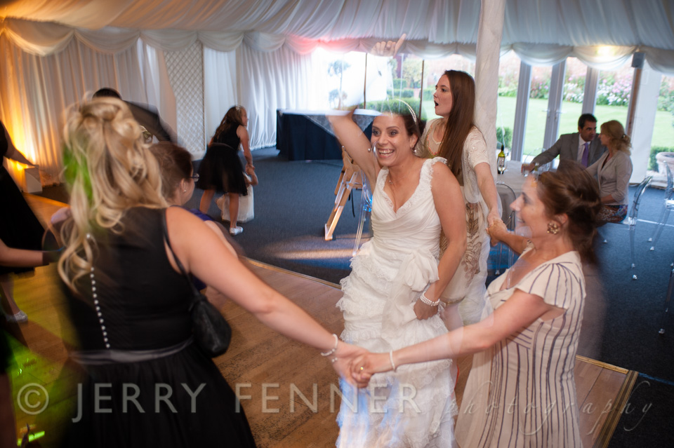 Partying and dancing at Parley Manor Wedding reception