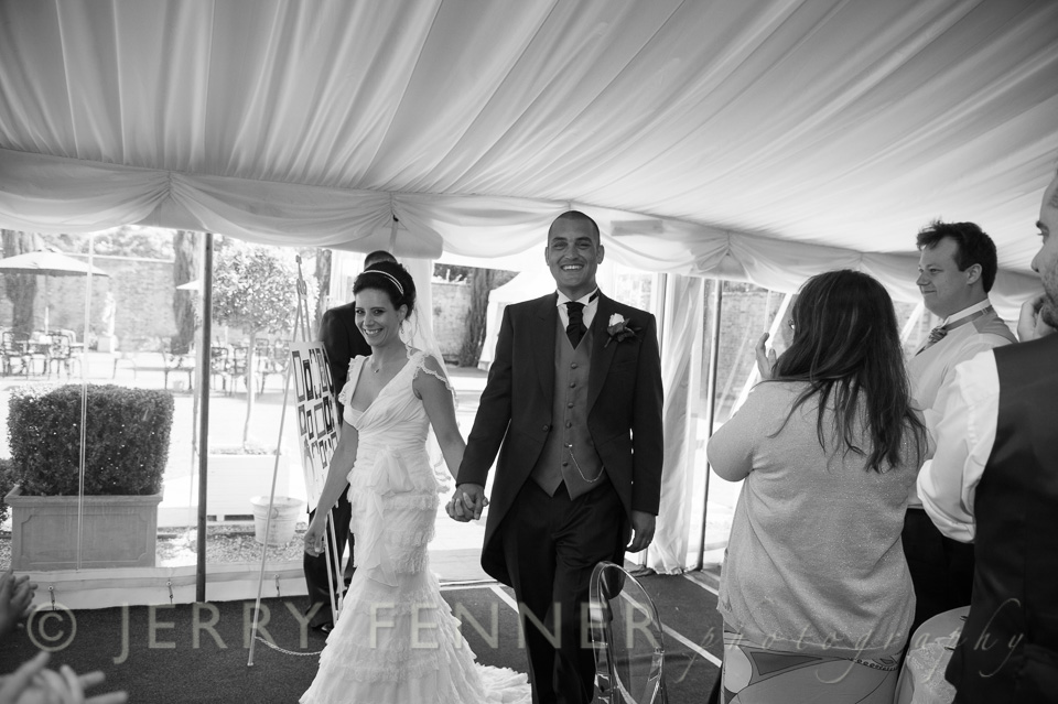 The wedding reception marquee at Parley Manor in Dorset