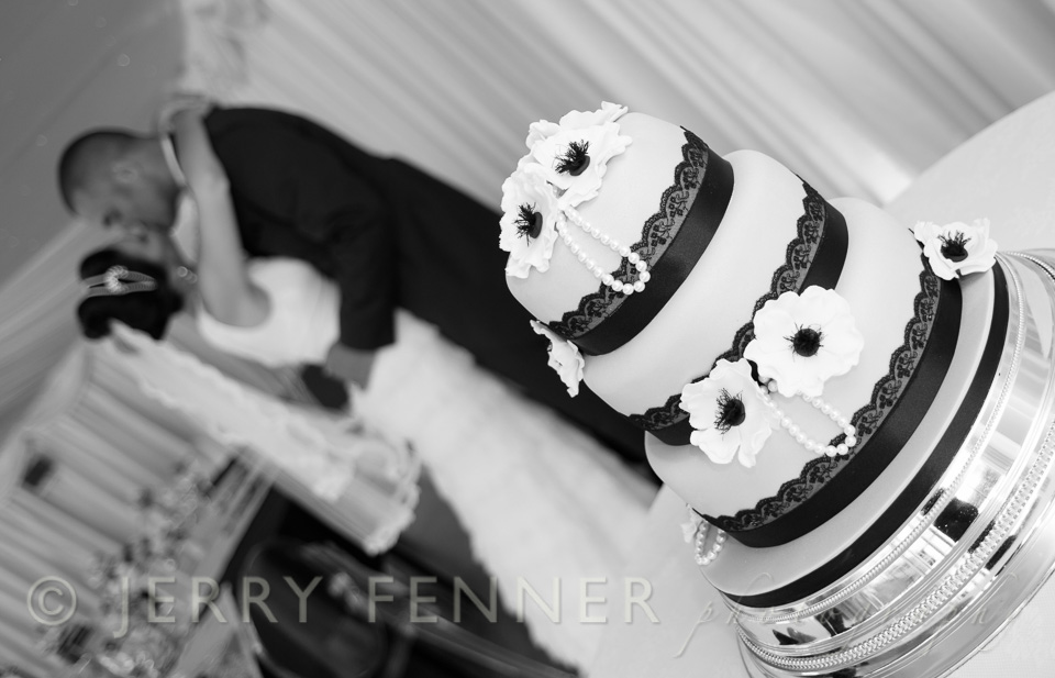 Wedding cake with the bride and groom at parley manor