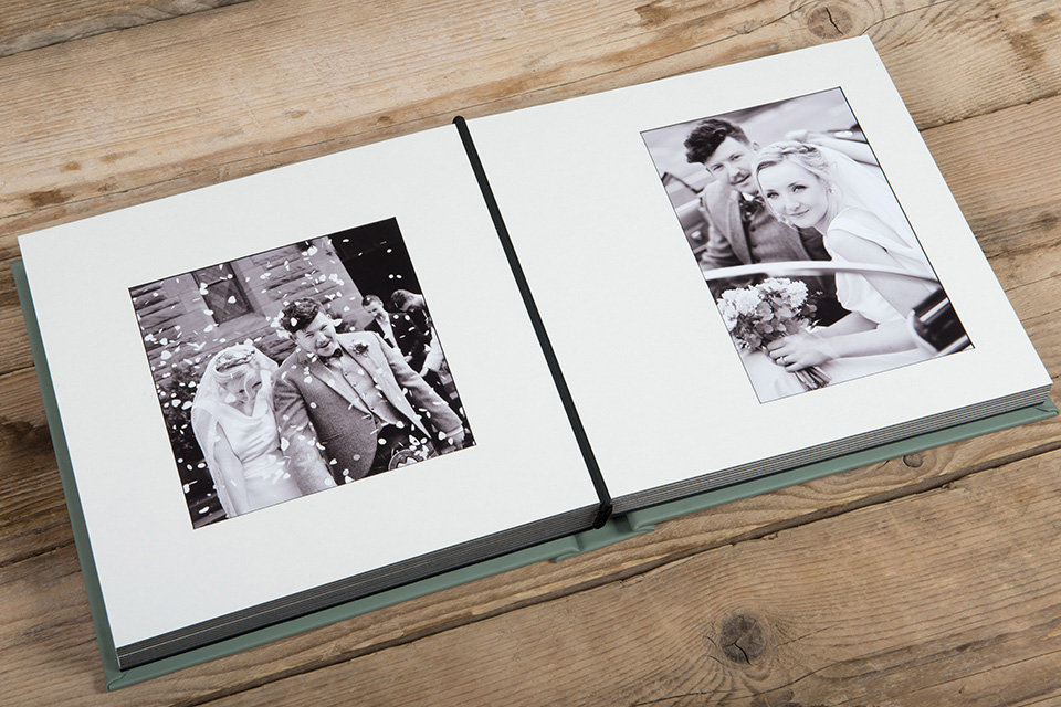 Wedding Album Apetura spread showing matted overlays
