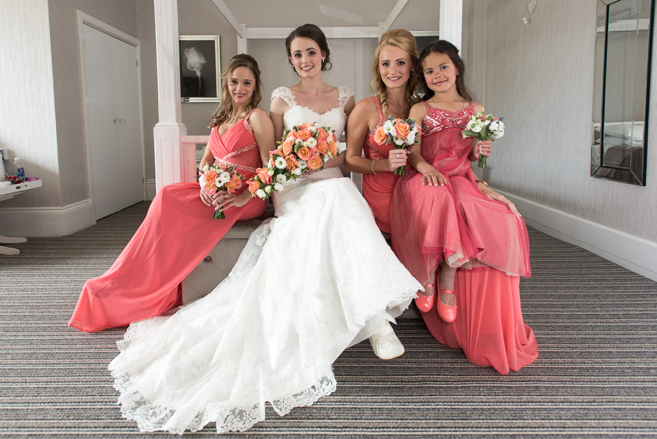 Bride, bridesmaids and flower girl at The Queens Hotel, Bournemouth, Dorset