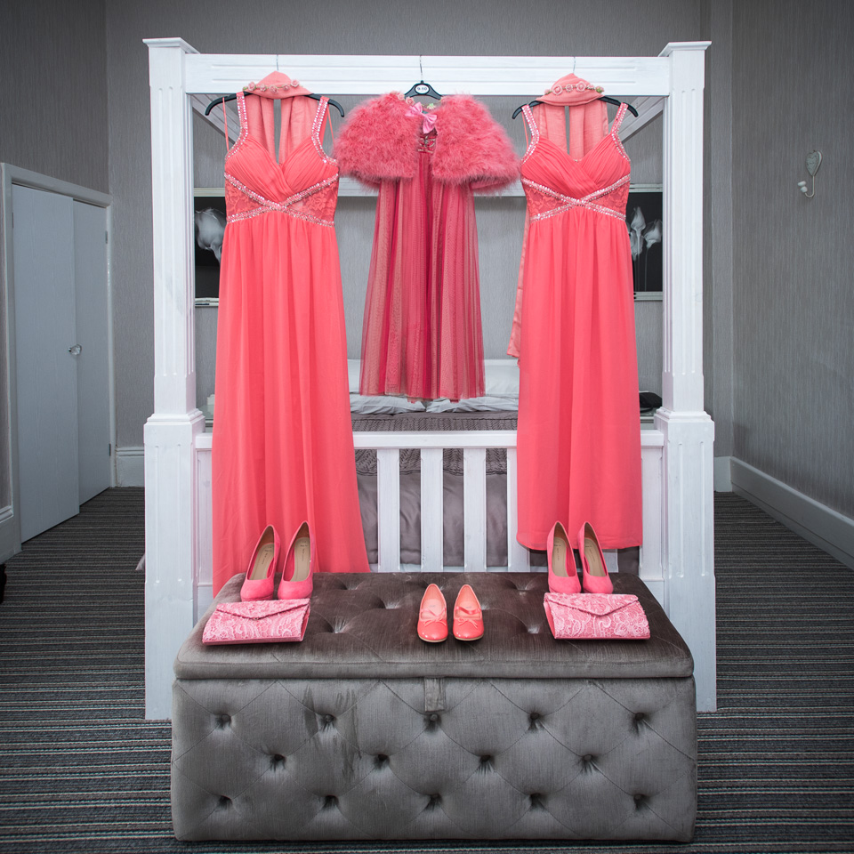 Bridesmaids outfits all ready at Queens Hotel Bournemouth