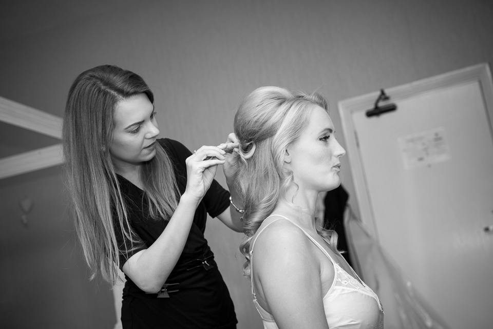 Bridesmiads hair being finished