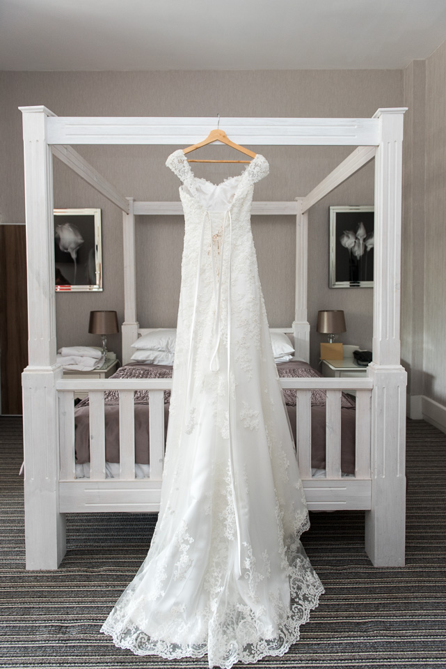 The bridal gown, wedding dress ready to be wron